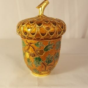 Cloisonne Acorn trinket box